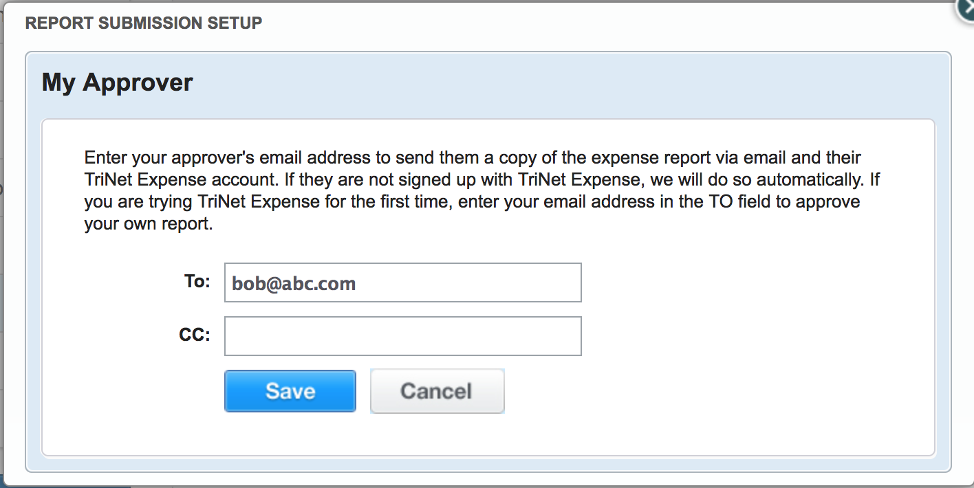 cc another user on expense reports trinet cloud help desk