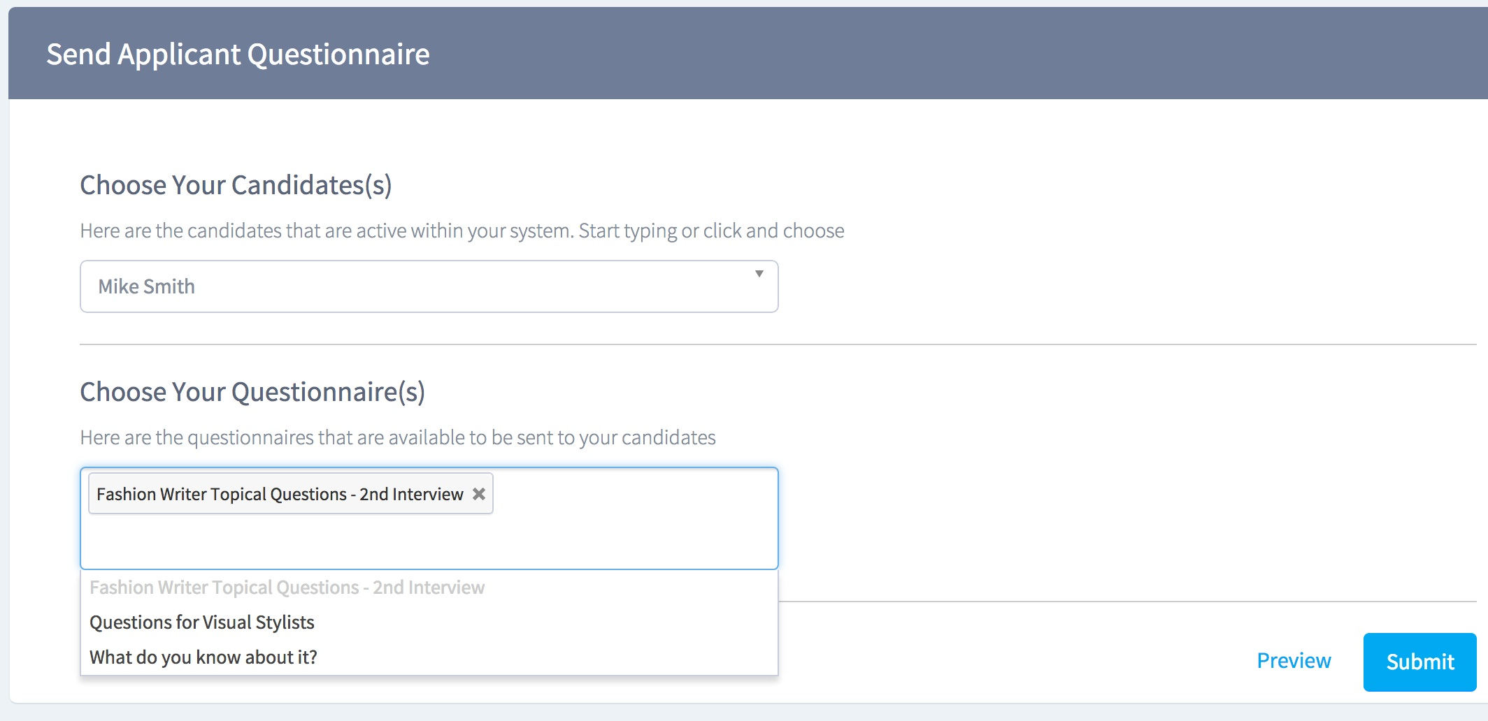 creating sending an applicant questionnaire trinet cloud help desk select the submit button to send the questionnaire