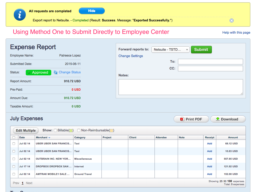 how to submit an expense report into netsuite trinet cloud help desk