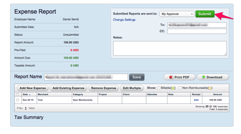create and submit expense report trinet cloud help desk